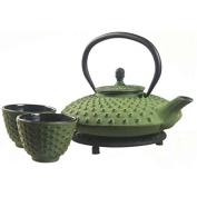 New Star International T8120 Cast Iron Mocha Tea Set with Trivet, 800ml, Green