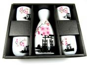 OliaDesign® Japanese Sake Set - Ceramic - 5 Piece Set - White and Red Blossom