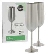 Stainless Steel Champagne Glasses- Set of Two 240ml Champagne Flutes