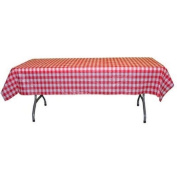 12-Pack Printed Red Gingham Checkerboard Plastic Table Cover