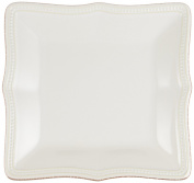Lenox French Perle Bead Square Accent Plate, White