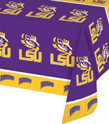 Creative Converting 720838 Collegiate Plastic Table Cover, 140cm by 270cm , Louisiana State University, Purple/Gold