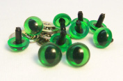 Sassy Bears 7.5mm Translucent Green Cat Reptile Safety Eyes for Bear, Doll, Puppet, Plush Animal and Craft - 10 Pairs
