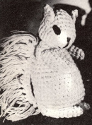 Vintage Crochet PATTERN to make - Squirrel Stuffed Animal Soft Baby Toy. NOT a finished item. This is a pattern and/or instructions to make the item only.