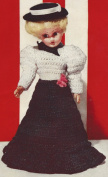 Vintage Crochet PATTERN to make - 20cm Doll Clothes Gibson Girl Skirt Blouse Hat. NOT a finished item. This is a pattern and/or instructions to make the item only.