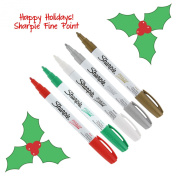 Sharpe Oil-Based Paint Markers, Fine Point, Pack of 5 - Christmas Holiday Colours