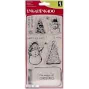 Inkadinkado Christmas Clear Stamps Sheet, Mason Jar Snowglobe, 10cm by 20cm