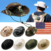 Fishing Hunting Bucket Hat Boonie Outdoor Cap Washed Cotton Military Safari Summer Men - Black