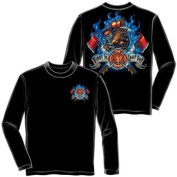 First In Last Out Firefighter Long Sleeve T-shirt by Erazor Bits, Black, 2XL