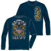 United States Navy Anchor Long Sleeve T-Shirt by Erazor Bits, Navy Blue, XL