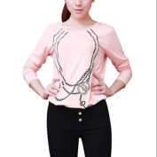 Allegra K Juniors Pullover Slim Fit Autumn Tops Pink