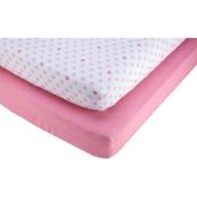 Pinwheel Pink and Polka Dot 2-Pack Crib Sheet, Girl