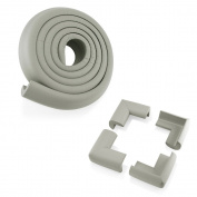 4Pcs Child Baby Kids Safety Corner Edge Protectors + Table Soft Cover Protector Cushion Guard - Grey