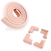 4Pcs Child Baby Kids Safety Corner Edge Protectors + Table Soft Cover Protector Cushion Guard - Pink