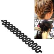 Zodaca Black Hair Styling Accessory Kit Bun Maker Roller Braid Beauty Tools 8.6cm x 2.5cm inch