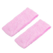 2 Pcs Stretchy Sports Protective Absorbent Headband Light Pink for Women