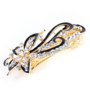 Faux Rhinestone Inlaid Metal Flower Style Hair French Clip Barrette Gold Tone