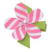 Girls Pink White Striped Grosgrain Petaled Flower Alligator Hair Clippie