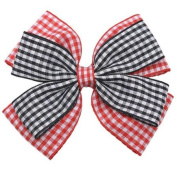 Girls Black Red Pink Gingham Pattern Bow Alligator Clippie