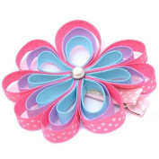 Girls Pink Grosgrain Flower Glittery Centre Alligator Hair Clippie