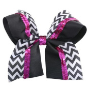 Reflectionz Girl Black White Chevron Pink Sequin Large Hair Barrette