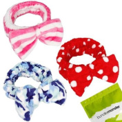 BMC 3pc Mix Pattern Ultra Soft Face Washing Elastic Bow Towel Headbands - Set 2