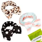 BMC 3pc Mix Pattern Ultra Soft Face Washing Elastic Bow Towel Headbands - Set 5
