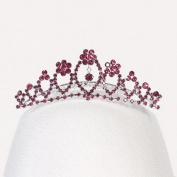 Angels Garment Girls Silver Fuchsia Rhinestones Special Occasion Tiara