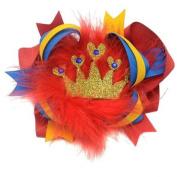 Girls Red Royal Blue Grosgrain Gold Crown Faux Fur Alligator Hair Clippie