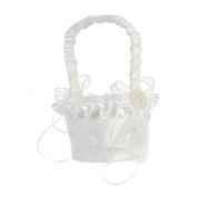 Lito White Satin Flowers Trim Pearled Flower Girl Basket