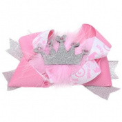 Girls Pink Silver Grosgrain Shimmer Crown Faux Fur Alligator Hair Clippie