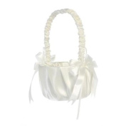 Lito Ivory Pleated Satin Bows Flower Girl Basket