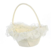 Lito Ivory Lace Trim Pearl Accent Flower Girl Basket