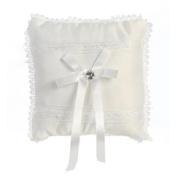 Lito White Satin Lace Trim Ring Bearer Pillow