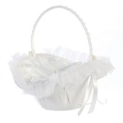 Lito White Organza Trim Butterfly Appliques Flower Girl Basket