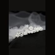 Kids Dream Girls Satin Floral Rhinestone Pearls Crown Veil Headpiece