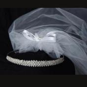Kids Dream Girls Rhinestone Elegant Satin Bow Princess Crown Veil Tiara