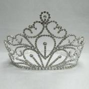 Girls Silver Rhinestone Pageant Queen Tiara Headpiece