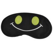 Elastic Head Strap Smile Face Prints Sleeping Eye Mask Eyeshade Black