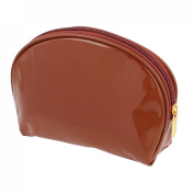 Lady Patent Leather Money Cell Phone Makeup Holder Zip Up Cosmetic Bag Brown