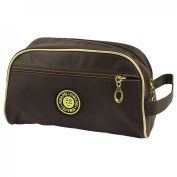 Lady Zip Up Two Compartment Cosmetic Holder Makeup Bag Chocolate Colour