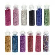 BMC 12 Tube Mix Colour Nail Polish Art Mini Caviar Bead Studs Manicure Accessory
