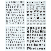 BMC 4pc Love Letters Numbers Nail Polish Art Water Transfer Sticker Sheet Set