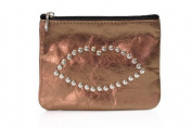 Soft Metallic Leather Mini Coin Purse with Silver Stud Lips GOLD Bronze Silver Black