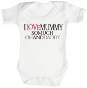 TRS - I Love Mummy So Much Oh And Daddy Baby Bodysuit / Babygrow 100% Cotton