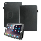 Magnetic PU Leather Folio Case Cover with Side Flip Stand Stylus Holder for Apple 2014 New iPad Air 2 - Black