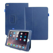 Magnetic PU Leather Folio Case Cover with Side Flip Stand Stylus Holder for Apple 2014 New iPad Air 2 - Dark Blue