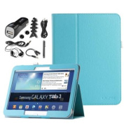 ULAK Case for Samsung Galaxy Tab 3 10.1 Tablet Folio Synthetic Leather Case Tab 3 Case Stand Cover P5200 P5210 With Auto Sleep/Wake Smart Cover Function+7in1 Accessory Bundles