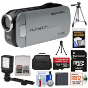 Bell & Howell Slice2 DV7HD 1080p HD Slim Video Camera Camcorder (Grey) with 16GB Card + Battery + Case + Tripods + LED Light + Kit