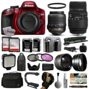Nikon D3200 Red DSLR Digital Camera + 18-55mm VR + Sigma 70-300mm Lens + 128GB Memory + 2 Batteries + Charger + LED Video Light + Backpack + Case + Filters + Auxiliary Lenses + $50 Gift Card + More!